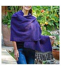 zapotec cotton rebozo shawl, 'striped diamonds in purple' (mexico)