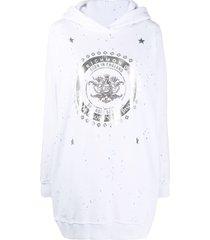 john richmond distressed foil-print hoodie - white
