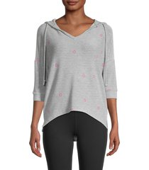 for the republic women's star-print high-low hoodie - size l