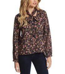 jessica simpson floral-print tie-neck blouse