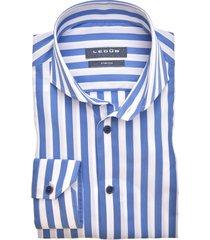 ledub overhemd slim fit gestreept blauw wit