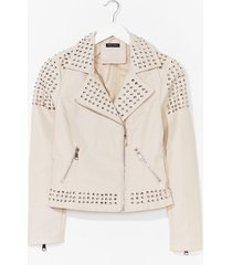 womens born to be wild faux leather studded jacket - cream