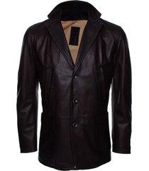 handmade new men stylish button closure classic long leather coat, men coat
