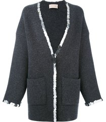christopher kane sequin trim cardigan - grey