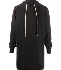 rick owens drkshdw long drawstring hoodie - black