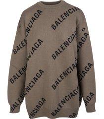 balenciaga woman light brown all-over logo round-neck pullover