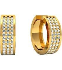 brinco argola cravejado com brilhantes em ouro 18k - kanui