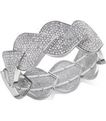 inc silver-tone pave teardrop stretch bracelet, created for macy's