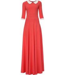 sukienka długa z kołnierzykiem koralowa
