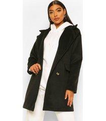 tall nepwollen jas met dubbele knopen, black