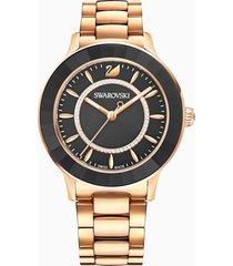 orologio octea lux, bracciale di metallo, nero, pvd oro rosa
