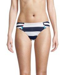 sperry women's striped bikini bottom - blue white combo - size m