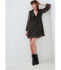motivi vestito corto fantasia foliage donna nero