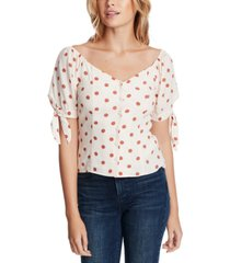 1.state dotted tie-sleeve top