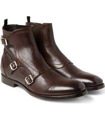handmade men triple monk dress boot, men brown ankle boot, men leather boot