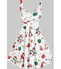 christmas santa claus snowman gifts print sleeveless dress