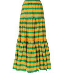 la doublej long striped skirt - green