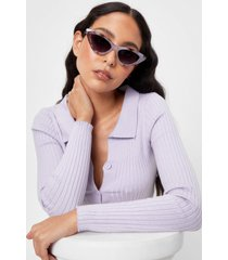 womens cat-eye wish you well marble sunglasses - clear