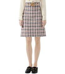 women's gucci tweed a-line skirt