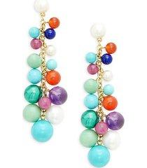 18k yellow gold, 5-10mm freshwater pearl & multi-stone cluster beaded earrings