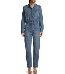 long-sleeve denim jumpsuit