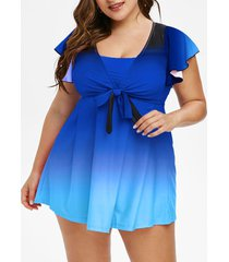 plus size butterfly sleeve ombre bowknot two piece swimsuit