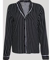 camisa de pijama feminina listrada com vivo contrastante manga longa preto