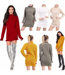 womens knitted ruffled jumper frill edge high polo neck mini chunky tunic dress