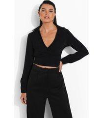 gedrapeerde wikkel blouse, black
