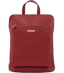 tuscany leather tl141682 tl bag - zaino donna in pelle morbida rosso