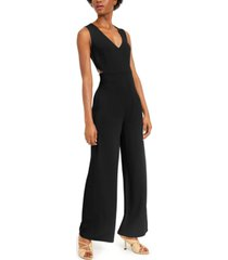 bar iii v-neck cut-out crepe jumpsuit, created for macy's