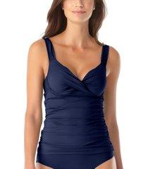 anne cole twist-front bra-sized underwire tankini top women's swimsuit