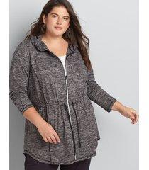 lane bryant women's livi zip-front hooded jacket 18/20 black/white