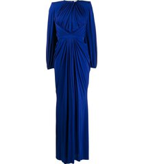 alexander mcqueen gathered front evening dress - blue