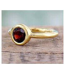 gold vermeil garnet solitaire ring, 'crimson nature' (india)