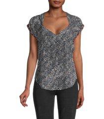 rag & bone women's danise printed silk top - black multi - size 2