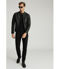 reiss keith - leather cafe racer jacket in black, mens, size xxl