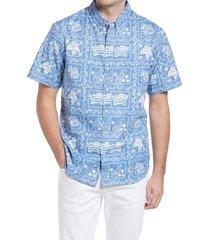 reyn spooner lahaina sailor regular fit popover shirt, size x-large in denim at nordstrom