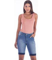 bermuda ciclista clara barra virada sisal jeans feminina