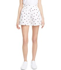 women's ganni polka dot print cotton poplin shorts