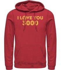 marvel men's avengers endgame simple i love you 3000 iron man, pullover hoodie