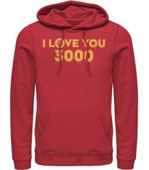 marvel men's avengers endgame simple i love you 3000 iron man, pullover hoodie