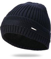 uomo tinta unita knit plus velvet fashion beanie hat outdoor travel mantieni caldo antivento ski cap