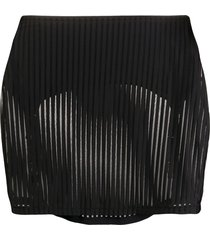 maison close bandeau striped skirt - black