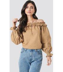 na-kd boho frill neck balloon sleeve blouse - beige