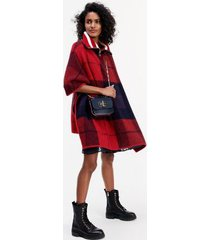 tommy hilfiger women's icon check cape sweater icon check red/blue - l-xl