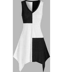irregular two tone tank dress