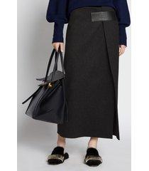 proenza schouler melange virgin wool wrap skirt charcoal/grey 6