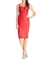 women's dress the population jaida floral embroidered cocktail dress, size small - red