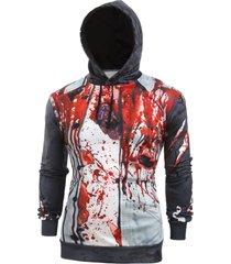 halloween blood scratch print casual pullover hoodie